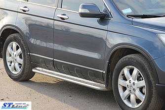 Боковые площадки Premium (2 шт, нерж.) - Honda CRV 2007-2011 гг.