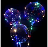 Воздушный шарик баблс мигающий на палочке 1шт 4118