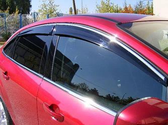 Ветровики с хромом (4 шт, Niken) - Honda Civic Sedan VIII 2006-2011 гг.