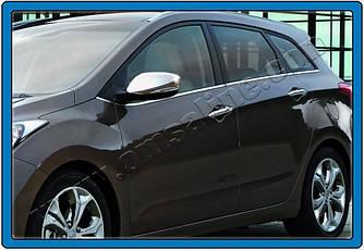 Накладки на зеркала с вырезом под поворот (2 шт, нерж) - Hyundai I-30 2012-2017 гг.
