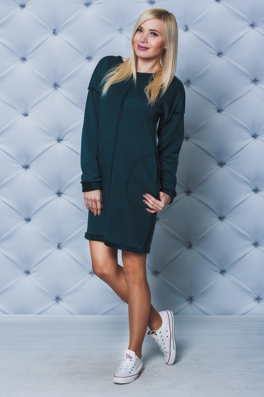 Платье женское на меху зеленое
