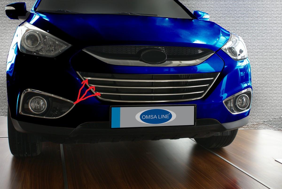 Полоски на решетку радиатора (3 шт, нерж) - Hyundai IX-35 2010-2015 гг.