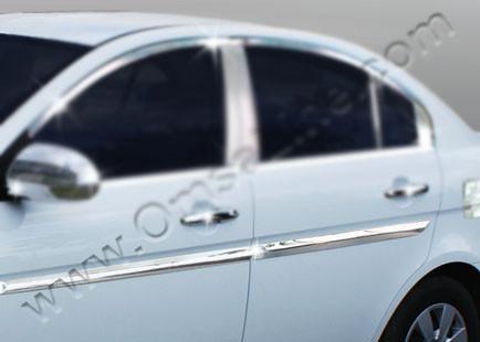Молдинг дверной (4 шт, нерж.) - Hyundai Accent 2006-2010 гг.