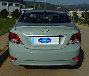 Накладка над номером (нерж.) - Hyundai Accent Solaris 2011-2017 гг.