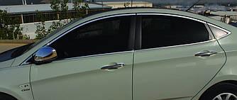 Полный комплект обводки стекол (14 шт, нерж.) - Hyundai Accent Solaris 2011-2017 гг.
