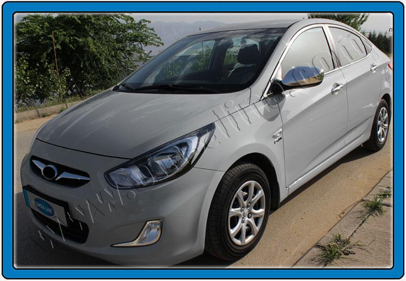 Накладки на зеркала (2 шт) - Hyundai Accent Solaris 2011-2017 гг.