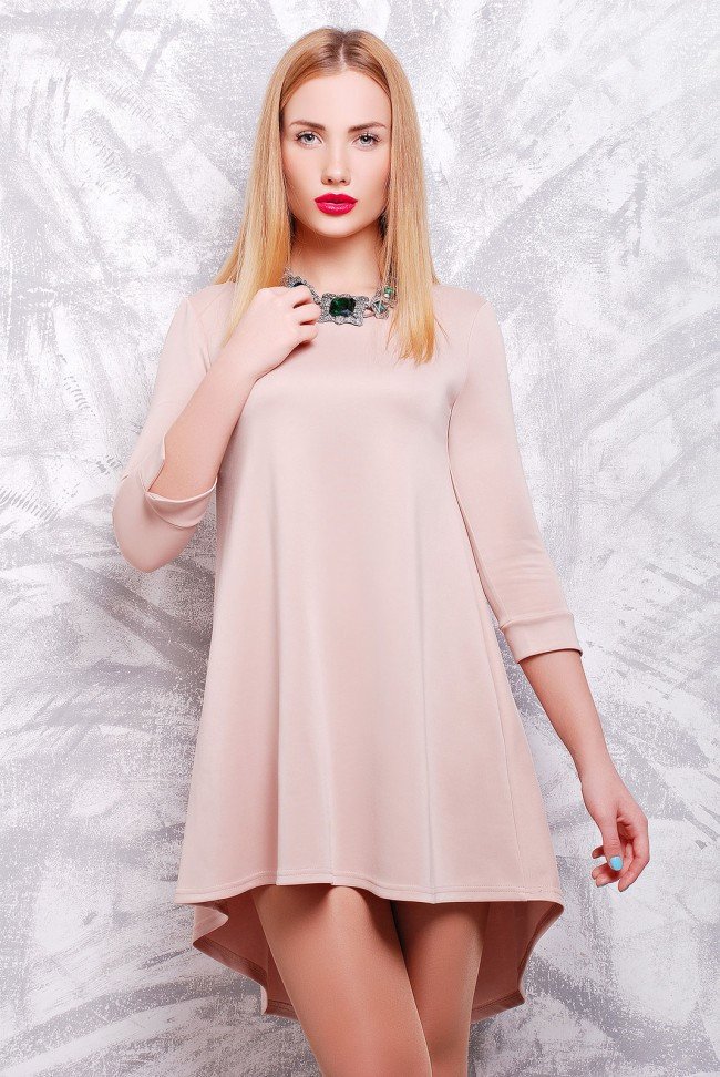 cae64347b324672 Модное однотонное платье свободного кроя А-силуэта со шлейфом