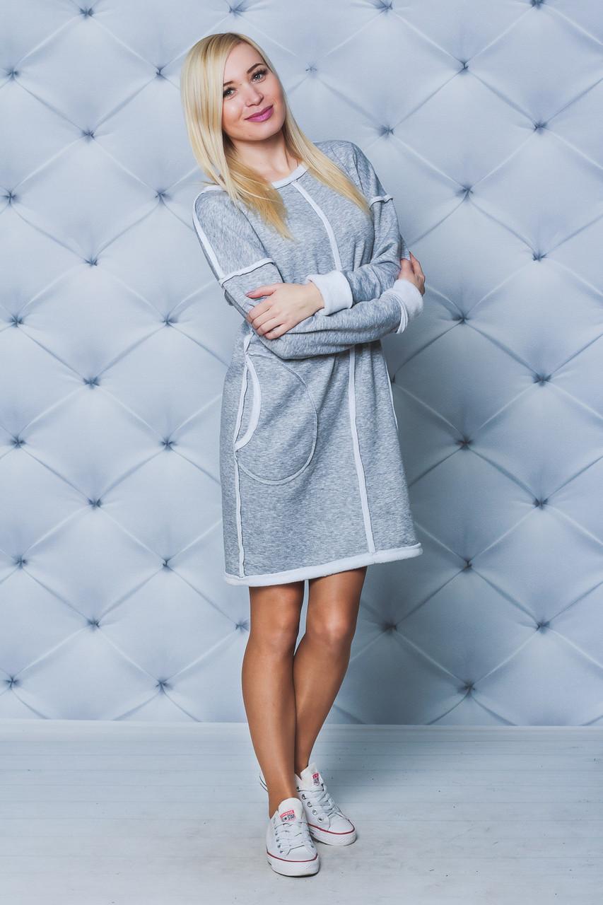 Платье женское на меху светло-серое