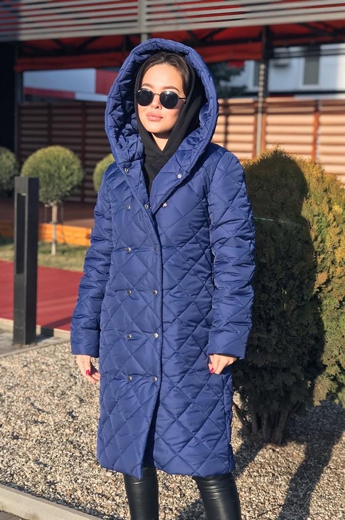 Женское стеганное пальто на кнопках 17374