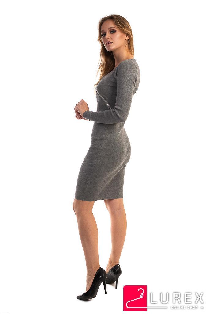 c3d5de7abc60 Платье с замком по диагонали LUREX - серый цвет, XS (есть размеры)