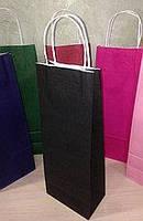 Бумажный пакет на вынос 150х90х390 Черный с ручками