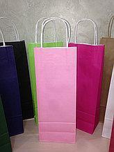 Бумажный пакет с дном 150х90х390 Розовый светлый с ручками
