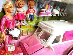 Игровой Большой набор Кукла мама на Мшине 34 см. с дочками, для куклы кафе на колесах