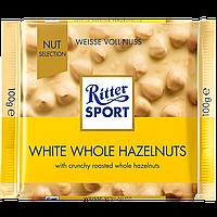 Шоколад Ritter Sport WHITE WHOLE HAZELNUTS (Белый шоколад с цельным лесным орехом), 100г (1ящ/10шт)