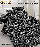 Комплект постельного белья Белый завиток на черном, полуторное