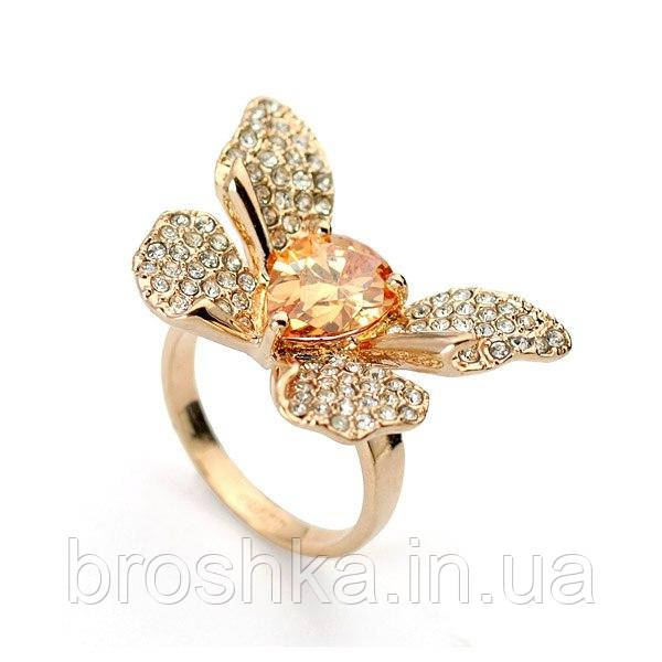 Позолоченное кольцо бабочка с камнями Swarovski 18й размер
