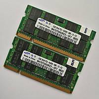 Пара оперативной памяти для ноутбука Samsung SODIMM DDR2 4Gb (2Gb+2Gb) 800MHz 6400s CL6 (M470T5663RZ3-CF7) Б/У, фото 1