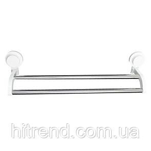 Вешалка для полотенец 2 секции на вакуумной присоске 53х13 см Bathlux 30129 - R132521