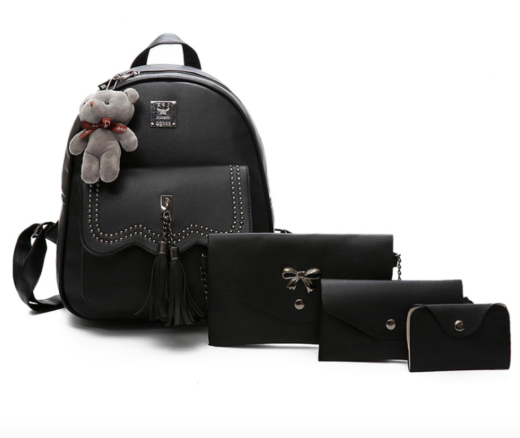 ef00f8967cd8 Рюкзак женский кожзам набор 4 в 1 с кисточкой Черный - Интернет магазин  GoFashion в Белой