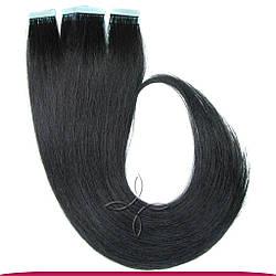 Натуральные Славянские Волосы на Лентах 70 см 100 грамм, Черный №01