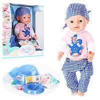 Функциональный пупс с кнопкой на животе  мальчик Беби Борн аналог Baby Born Boy BL013A-S Функциональный набор