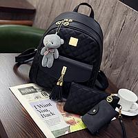 Рюкзак женский городской набор стеганый 3 в 1 Черный