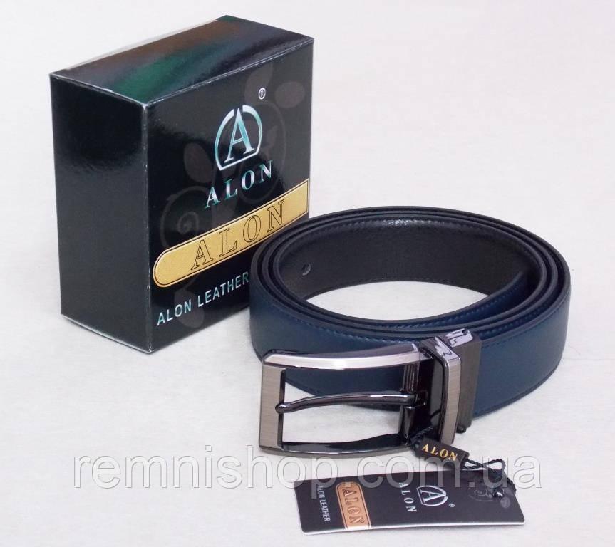 Двухсторонний кожаный пояс кожаный Alon черный / синий