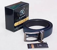 Двухсторонний кожаный пояс кожаный Alon черный / синий, фото 1