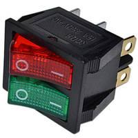 Переключатель клавишный широкий сдвоенный с подсветкой 220V красный + зеленый
