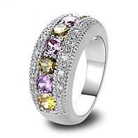 Серебряное кольцо, Ободок, с камнями куб. цирконий, размер 17