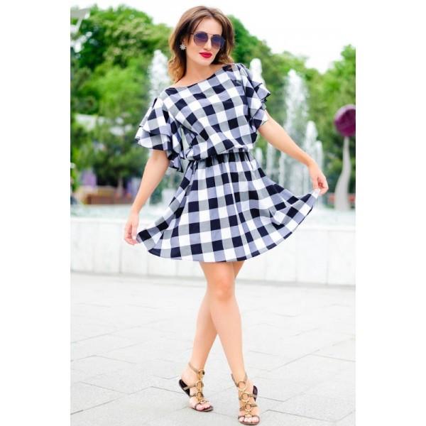 Женское платье в черно-белую клетку  Шарлотта