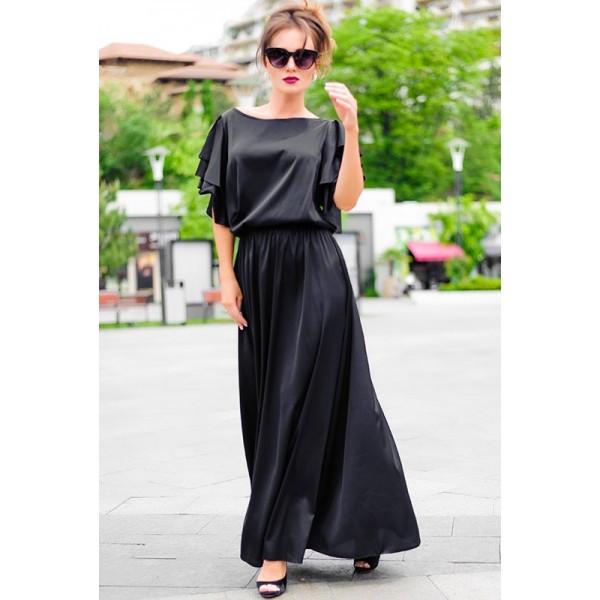 Черное батальное шелковое платье Шерлиз