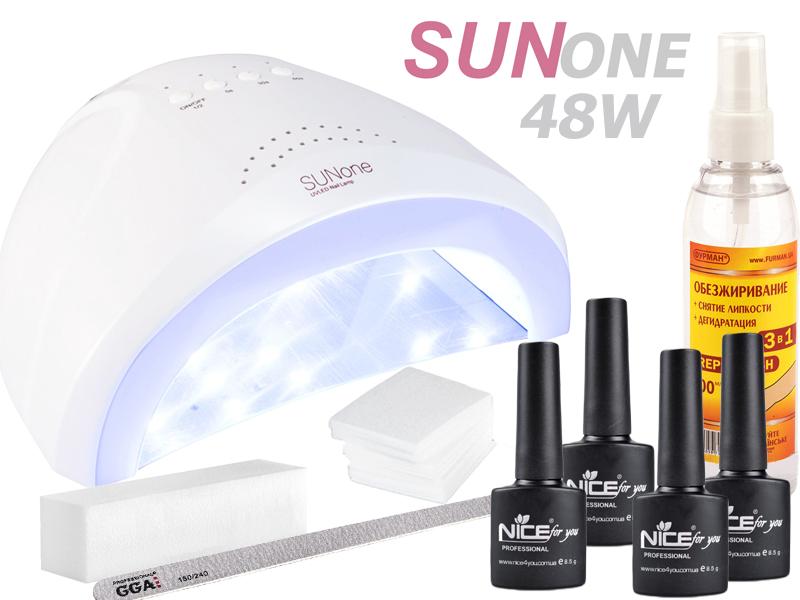 Стартовый набор для гель лака с лампой SUNone 48W