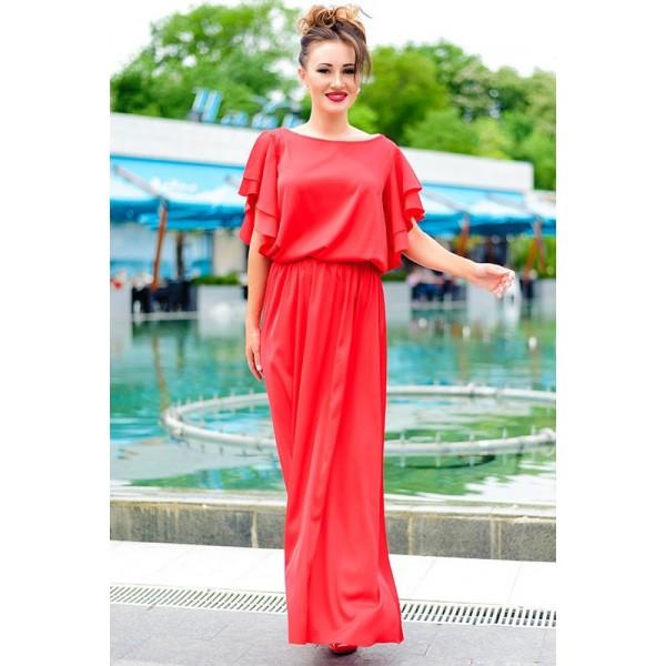 Красное длинное платье Шерлиз