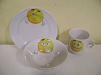 """Набор посуды 3 предмета """"Смайлики"""" Идиллия"""