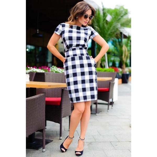 Сукня в чорно-білу клітинку Поліна