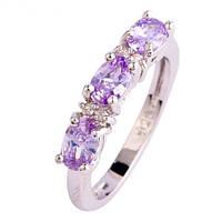 Серебряное кольцо, Ободок, с розовыми камнями куб. цирконий, размер 18, фото 1