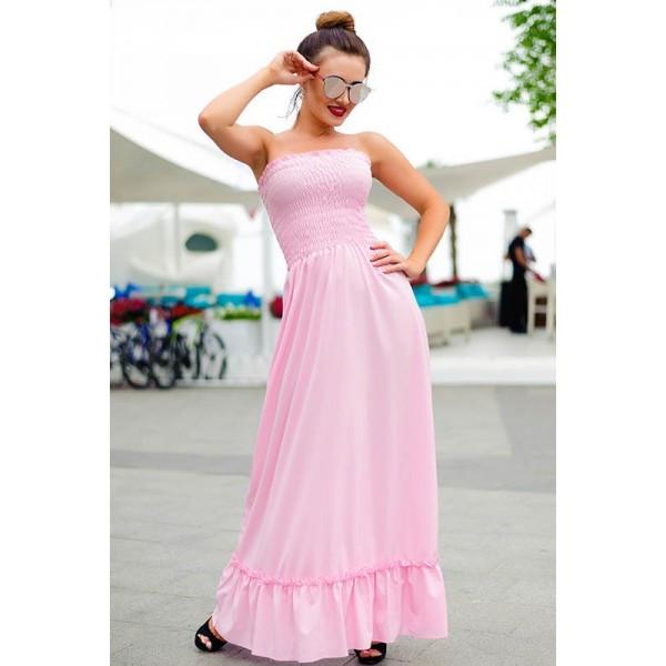 Розовый длинный сарафан Монреаль