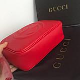 Сумка, клатч Гучи Soho, натуральна шкіра, колір червоний, фото 2