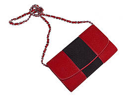 Клатч из кожи морского ската Ekzotic Leather Красно - черный (sb08_1)
