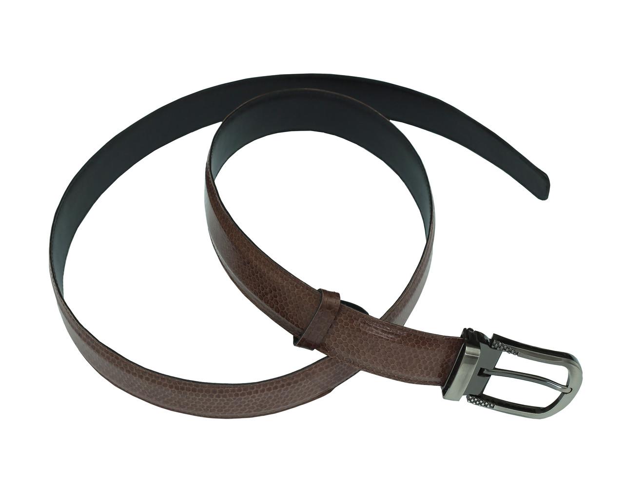 Ремень Ekzotic Leather из натуральной кожи морской змеи Темно - коричневый (snb 15_5)