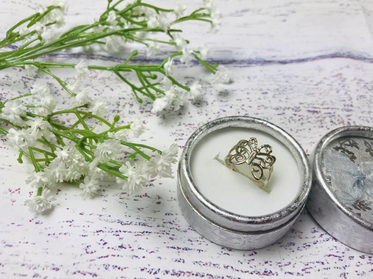 Серебряное кольцо бабочка 925 проба