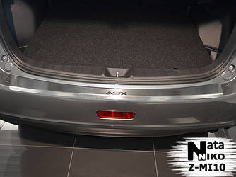 Накладка на задний бампер с загибом Натанико (нерж.) - Mitsubishi ASX 2010+/2016+ гг.