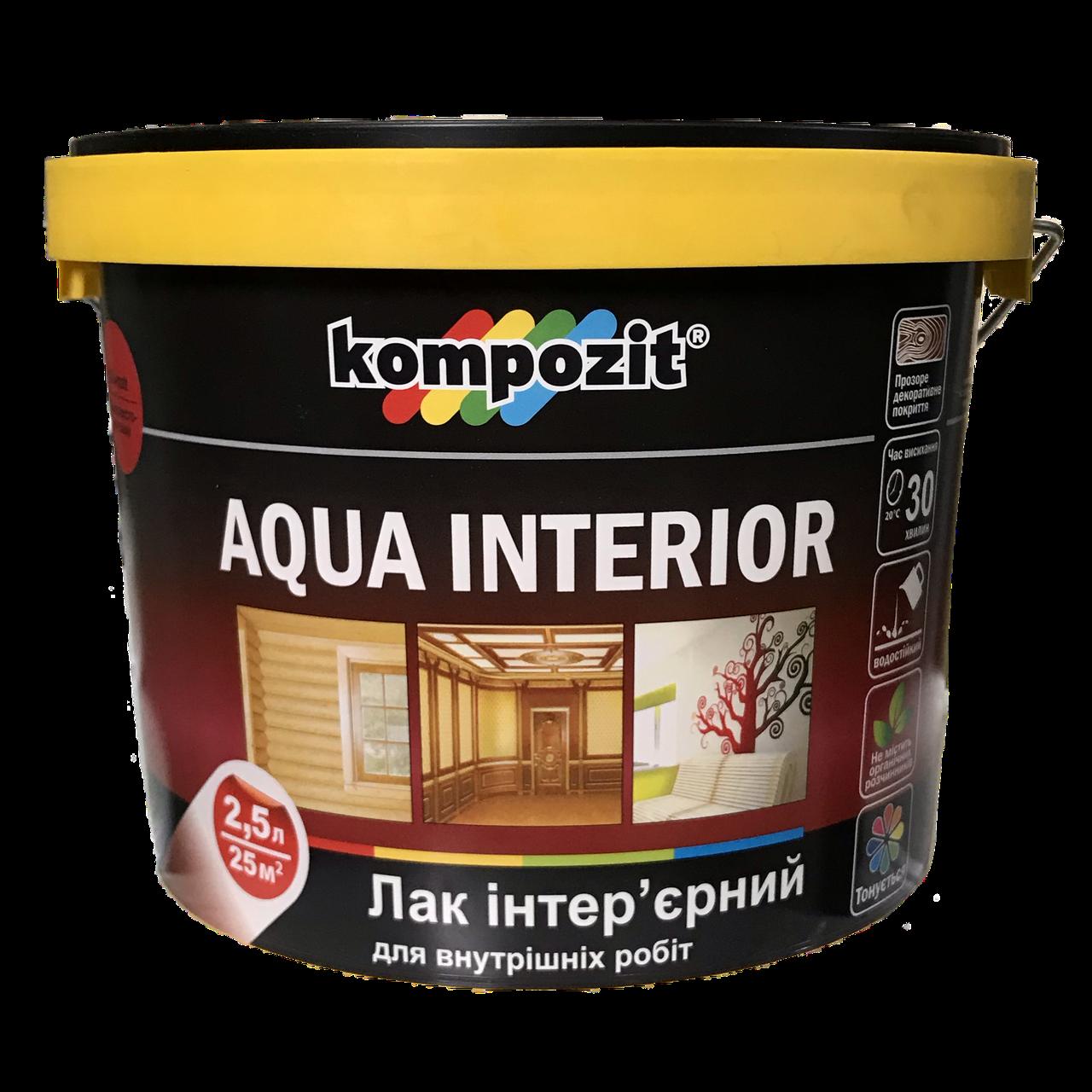 Лак інтер'єрний Kompozit Aqua Interior 2.5л Шовковисто-матовий