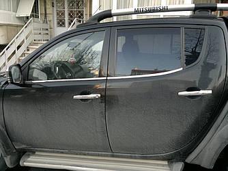 Окантовка вікон (4 шт., нерж.) - Mitsubishi L200 2006-2015 рр.
