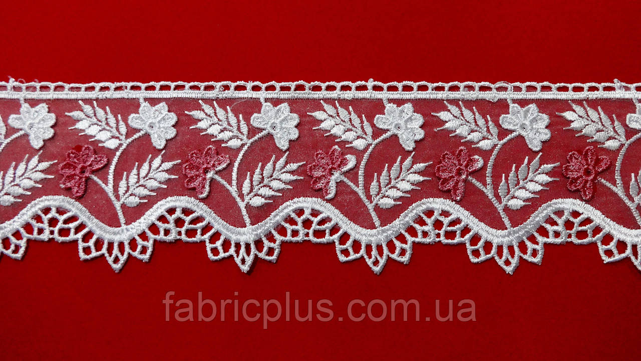 Кружево на органзе 8 см белое с розовыми цветами