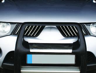 Накладки на решітку радіатора (14 шт, нерж) - Mitsubishi L200 2006-2015 рр.