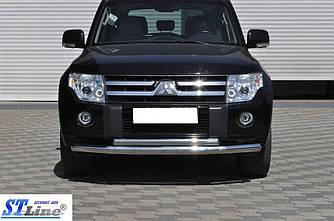 Передняя защита ST014 (нерж.) - Mitsubishi Pajero Wagon IV