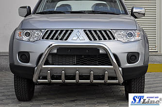 Передняя защита WT003 (нерж.) - Mitsubishi Pajero Sport 2008-2015 гг.