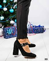 Туфли женские с пряжкой черные, фото 1